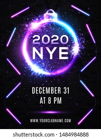 2020 New Year Eve Party Celebration Poster Template Illustration with Neon Lights Line Bulb Number and Christmas Ball on Black Brick Wall Background. Vector Holiday Premium Invitation Flyer or Banner.