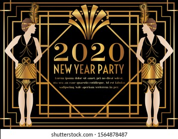 2020 New Year Gatsby Art Deco Party Invitation with Woman