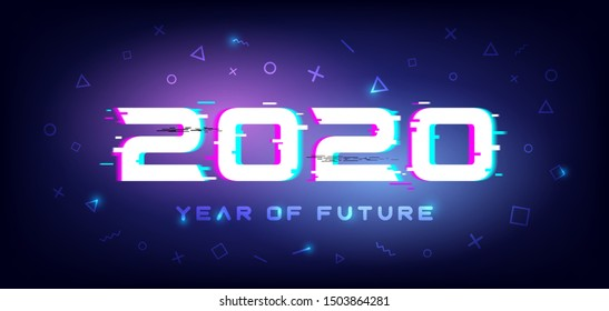2020 New Year with glitch effect in future style. Greeting or invitations card with fluorescent geometric background for your seasonal holiday flyers, poster and banner.Vector illustration.