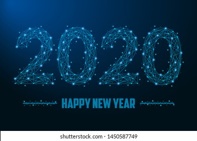 2020 New Year illustration made by points and lines, polygonal wireframe mesh on night sky, dark blue background. Low poly greeting card. Vector.