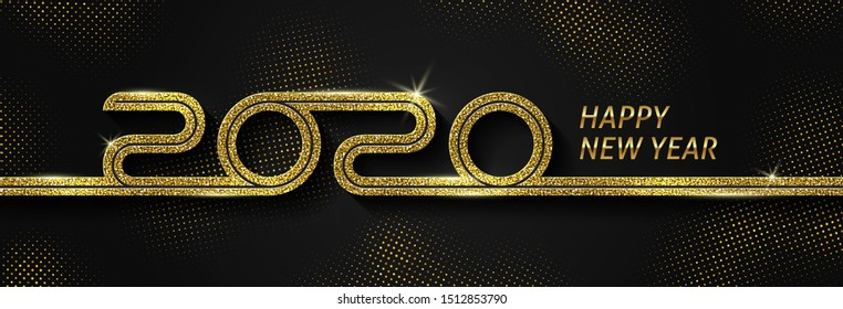 2020 new year logo. Greeting design with glitter gold  number of year. Design for greeting card, invitation, calendar, etc.
