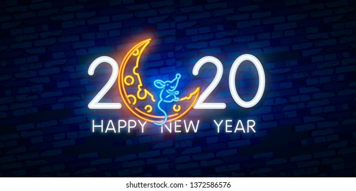 2020 New Year neon sign. Piece of cheese with two thousand twenty numbers and rat on brick background. Vector illustration in neon style for Christmas banners, New Year posters, party invitation