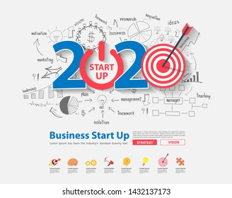 2020 new year startup and target market ideas concept design, With creative thinking drawing charts and graphs business success strategy plan inspiration, Vector illustration layout template