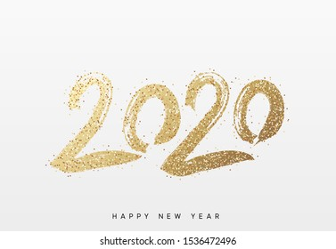 2020 New Year. Text golden with bright sparkles.