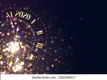 2020 New Years background vintage gold shining clock report time five minutes to midnight.