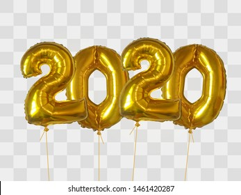 2020 number of gold foiled balloons isolated on transparent background. Happy new year 2020 holiday. Realistic 3d vector illustration