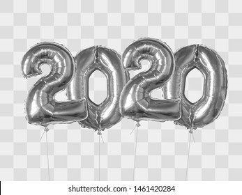 2020 number of silver foiled balloons isolated on transparent background. Happy new year 2020 holiday. Realistic 3d vector illustration