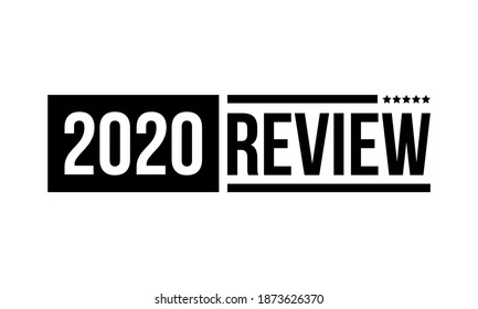 2020 review with five stars, black vector icon isolated on white background
