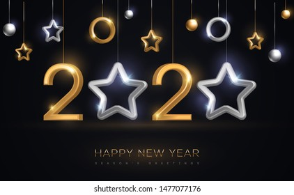 2020 silver and gold numbers with star hanging on black background. Vector illustration. Minimal invitation design for Christmas and New Year. Winter holiday decorations