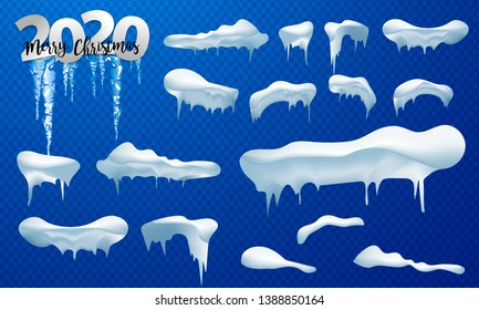 2020 Snow caps, snowballs and snowdrifts set. Snow cap vector collection. Winter decoration element. Snowy elements on winter background. Cartoon template. Snowfall and snowflakes in motion.