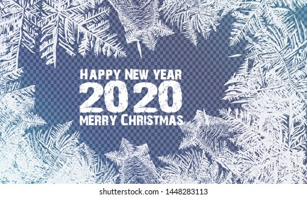 2020 Snow frost effect on blue background. Vector Illustration. 2020 Frost glass pattern. Winter frame on transparent background. Vector 2020 christmas illustration. transparent blue frost window