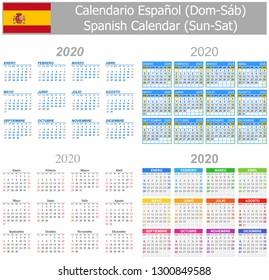 2020 Spanish Mix Calendar Sun-Sat on white background