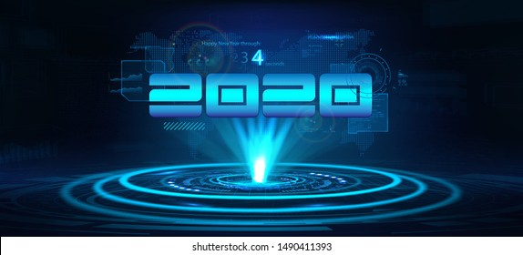 2020 technology banner. Happy New Year concept. Digital data visualization, Business technology. Hologram 2020 with interface,countdown, lens flare and earth map in the background. Vector illustration