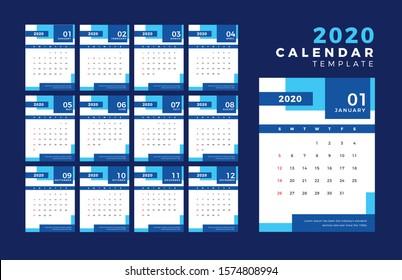 2020 Template Calendar Design Vector, Set Desk Calendar, Week Starts on Sunday, Set of 12 Months