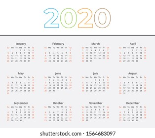 2020 tradicional calendar with colored characters