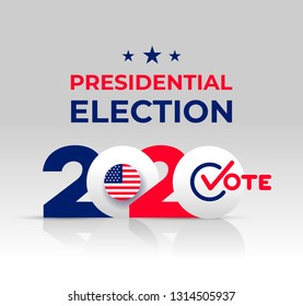 2020 United States of America Presidential Election banner. Design logo. Election banner Vote 2020 with Patriotic Stars. Vector illustration. Isolated on white background.