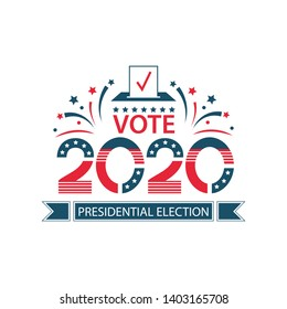 2020 United States of America Presidential Election banner. USA flag banner Vote with Patriotic Stars and stripes