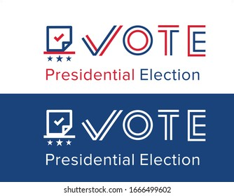 2020 United States of America Presidential Election voting banner. Election design news poster campaign