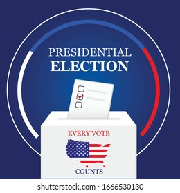 2020 United States of America Presidential Election voting banner with white ballot box illustration  template design