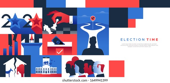 2020 United States politics web template illustration with copy space for special presidential event. Modern flat design background includes diverse political campaign and social concepts.