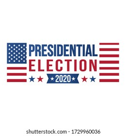 2020 United States of Presidential Election banner.Vote. Patriotic illustration with american flag and symbols