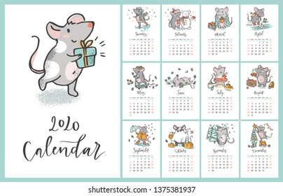 2020 vector calendar with hand drawn illustartions of rats for each month  and hand written signs. Year of the rat. Week starts on Sunday.