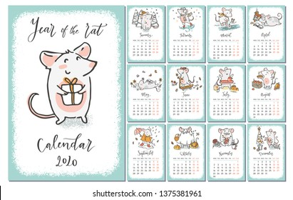 2020 vector calendar with hand drawn illustrations of rats for each month and hand written signs. Year of the rat. Week starts on Monday