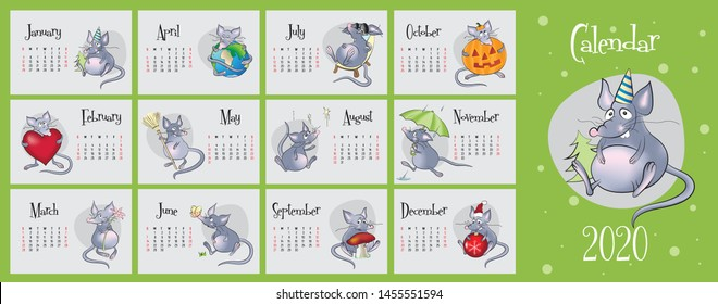 2020 vector calendar with hand drawn illustartions of rats for each month. Year of the rat. English language, Latin signs, week starts on Sunday
