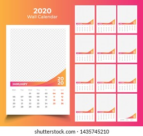 2020 wall calendar template design
