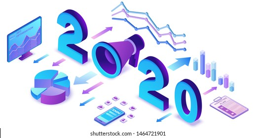 2020 year marketing plan, social media isometric 3d infographic strategy, promotion campaign concept, analyze website content report, advertising banner vector illustration