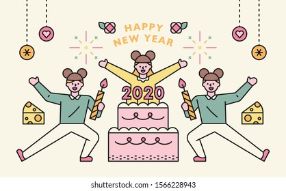 2020 is the year of mice. Big cake with people celebrating. New year card concept. flat design style minimal vector illustration.
