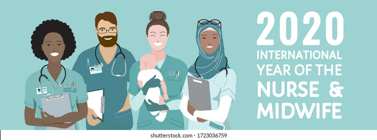 2020 Year of the Nurse and the Midwife banner. Multinational group of african, arabian muslim, european nurses, midwife holding newborn baby, stand together. Healthcare heroes of the year. Flat vector