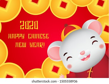 2020 year of rat. Chinese new year banner. cartoon mouse happy face and lucky golden coins.