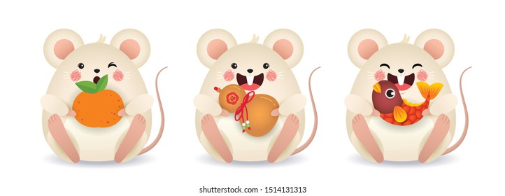 2020 year of the rat illustration. Set of cute cartoon mouse holding tangerine, chinese bottle gourd & koi fish isolated on white background. Chinese New Year icon or item. (translation: blessing)