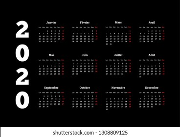 2020 year simple calendar on french language on black