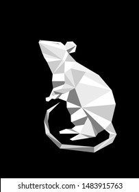 2020 Year of the White Rat on the Chinese Calendar. Origami white rat made of paper. Vector illustration