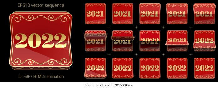 2021 - 2022. Animated flip calendar for announcing New Year's events. Luxury date flipper. Red and gold 3D icon of counter. Vector sequence for GIF, HTML, flash animation. Sprite sheet of 15 frames.
