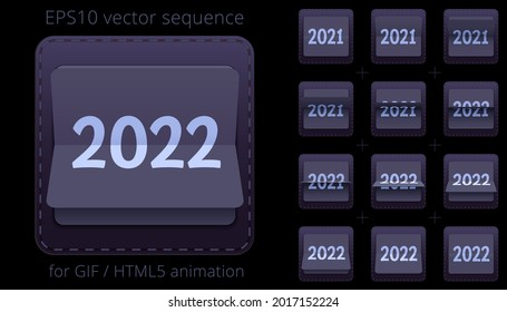 2021 - 2022. Animated flip calendar for New Year's events. Banner with a date flipper. Black and silver 3D icon of counter. Vector sequence for GIF, HTML, flash animation. Sprite sheet of 12 frames.