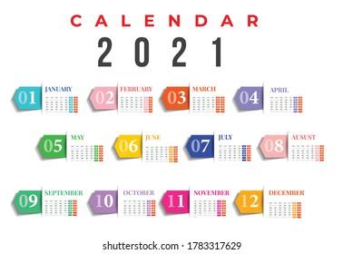 2021 calendar design. Set of 12 months. Monthly Wall Calendar 2021. 2021 calendar planner set for template corporate design week start on Monday.
