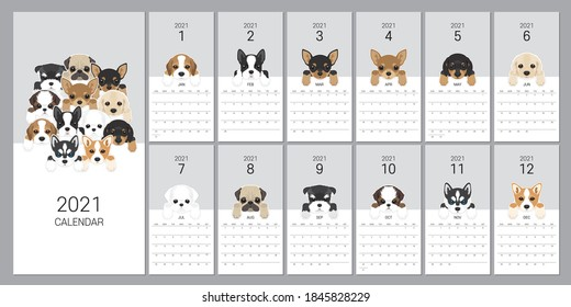 The 2021 calendar with dog breeds for pet lovers. Vector Editable Template Minimum, Sketch, Drawing Vector Dogs Illustration.