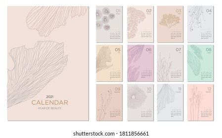 2021 calendar template on a botanical theme. Calendar design concept with abstract natural elements. Set of 12 months 2021 pages. Vector illustration