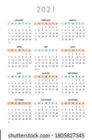 2021 calendar year at glance