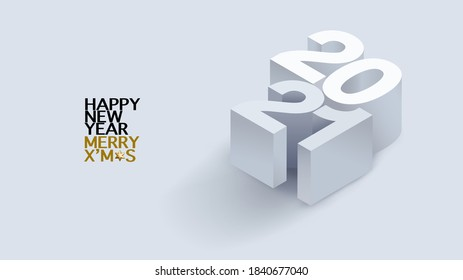 2021 calligraphy with 3d numbers on white background of Happy New Year celebration for flyers, posters, business decoration sign, brochure, card, banner, postcard. Vector illustration