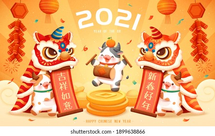2021 CNY poster with cute cows performing lion dance show. Concept of Chinese zodiac sign ox. Translation: Happy Chinese new year.