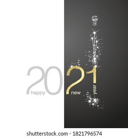 2021 Gold Happy New Year sparkle firework white black background greeting card