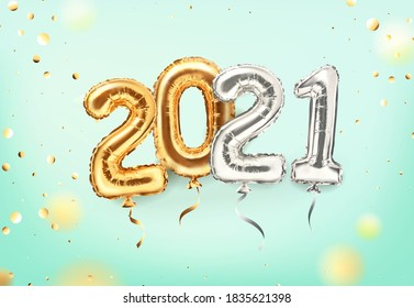 2021 golden decoration holiday on mint background. Shiny party background. Gold foil balloons numeral 2021 and confetti. Happy new year 2021 holiday. Realistic 3d vector illustration