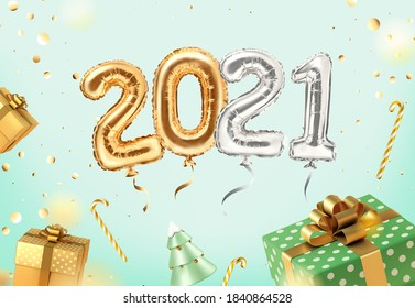 2021 golden decoration holiday on neomint background. Shiny party background with golden and green gifts. Gold foil balloons numeral 2021 and confetti. Happy new year 2021 holiday. Realistic 3d vector