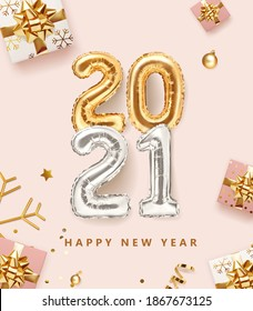 2021 golden decoration holiday on pink color background. Gold foil balloons numeral 2021 with realistic festive objects, glitter gold confetti, gifts and serpentine. Happy new year 2021 holiday poster