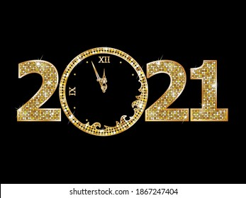 2021 golden numbers with clock