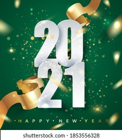2021 green Happy New Year vector background with golden gift ribbon, confetti, white numbers. Christmas celebrate design. Festive premium concept template for holiday